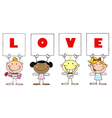 Cute Stick Cupids Holding LOVE Signs vector image