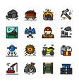 coal mining icons set vector image