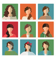 female avatar set in casual style vector image vector image