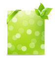 Banner With Ribbon And Bokeh And Leaves vector image