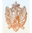 sketch digital drawing of heraldic sculpture eagle vector image