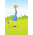 Girl playing badminton vector image