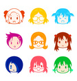 Little girl head icons vector image