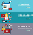 Online video email design concept set with blogger vector image