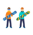 people on mountain slope holding snowboard vector image