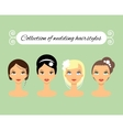 Set of different wedding hairstyles for bride vector image