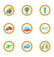 types of vehicle icons set cartoon style vector image