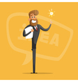 Happy businessman or manager comes up with ideas vector image