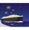Cruise Ship boat and fireworks vector image