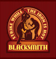 color emblem in retro style with three blacksmith vector image