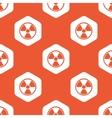 Orange hexagon hazard pattern vector image