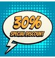 30 percent special discount comic book bubble text vector image