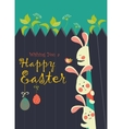 Bunnies and easter eggs vector image