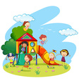 Children playing on slide in park vector image