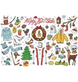 New year season doodle iconssymbolsColored kit vector image