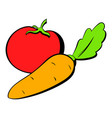 tomato and carrot icon cartoon vector image