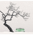 Lonely tree on a snow-covered bench vector image