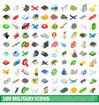 100 military icons set isometric 3d style vector image