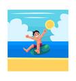 kid boy child riding swim ring enjoying summer vector image