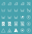 Laundry icons on blue background vector image