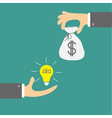 Hands with idea bulb and money bag Exchanging vector image