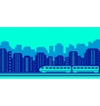 moving train on blue urban landscaping vector image