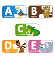 stickers alphabet animals from A to E vector image