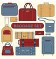 Baggage Set Different Bags and Suitcases vector image