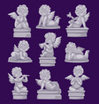 Beautiful statue of angel praying isolated marble vector image