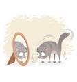 cat and mirror vector image