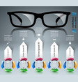 glasses icon abstract infographi vector image