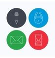 Mail envelope pencil and lock icons vector image