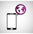 cellphone global world multimedia icon vector image