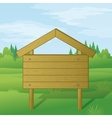 Wood sign on summer landscape vector image