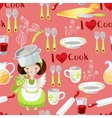 Seamless pattern with the little girl and kitchen vector image