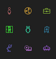set of 9 editable education outline icons vector image