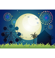 A carnival under the bright fullmoon vector image