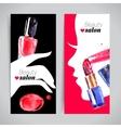 Watercolor cosmetics banner set vector image vector image