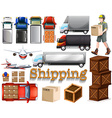 Cargo service with different transportation vector image