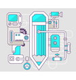 industrial of the mechanism of pencil Color vector image