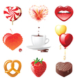 set of 9 concept hearts - vector image