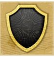 A golden shield on the vintage background vector image vector image