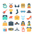 fashion and clothes colored icons 8 vector image