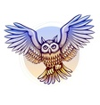 flying cartoon owl with color vector image vector image