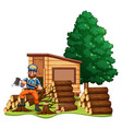 lumber jack chops woods vector image vector image