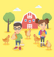 caucasian boy and girl holding chickens and eggs vector image
