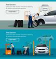 car repair service flat horizontal banner vector image