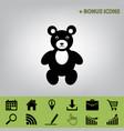 teddy bear sign   black icon vector image
