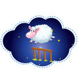 sheep jumping over the fence at night vector image vector image