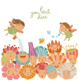 Floral background with cute fairies vector image vector image